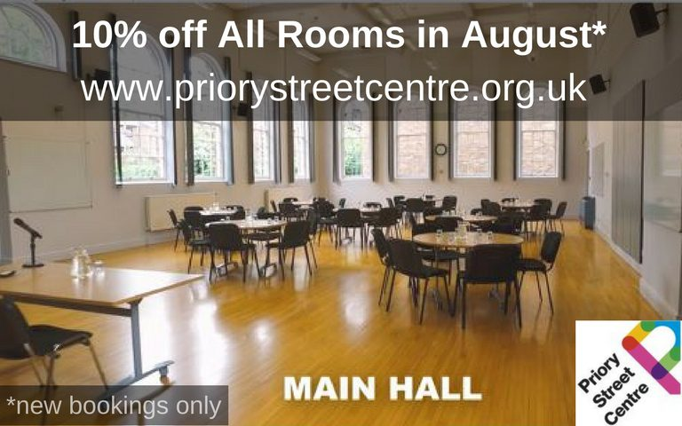 10% off Priory Street Centre rooms in August