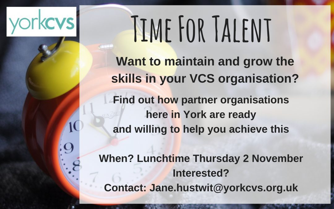 Making Time for Talent By Jane Hustwit, Chair, York CVS.