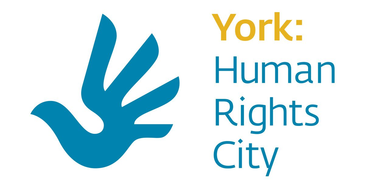Text: York Human Rights City. Illustration of a dove that has four wings spread so the image also looks like a waving hand.