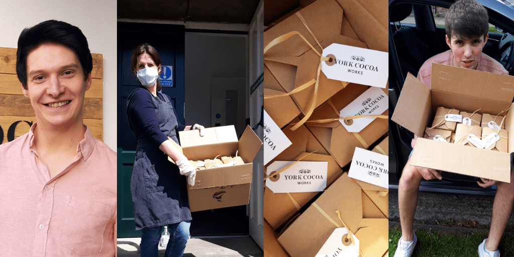 Images Left to Right: Ashley from York Cocoa House, Chocolate being delivered to The Supper Collective, Chocolates and volunteer Louis delivering the chocolates
