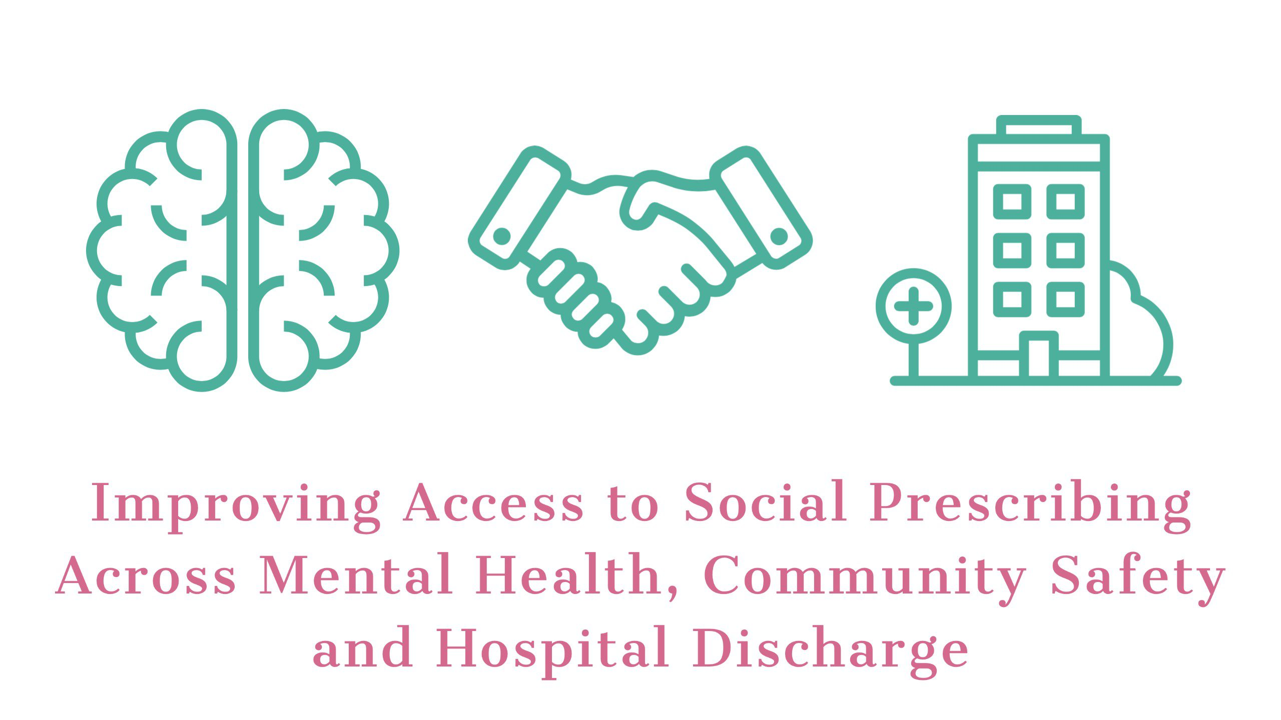 Sketch image of a brain, hands shaking each other and a building with the words 'Improving access to Social Prescribing across Mental Health, Community Safety and hospital discharge' underneath