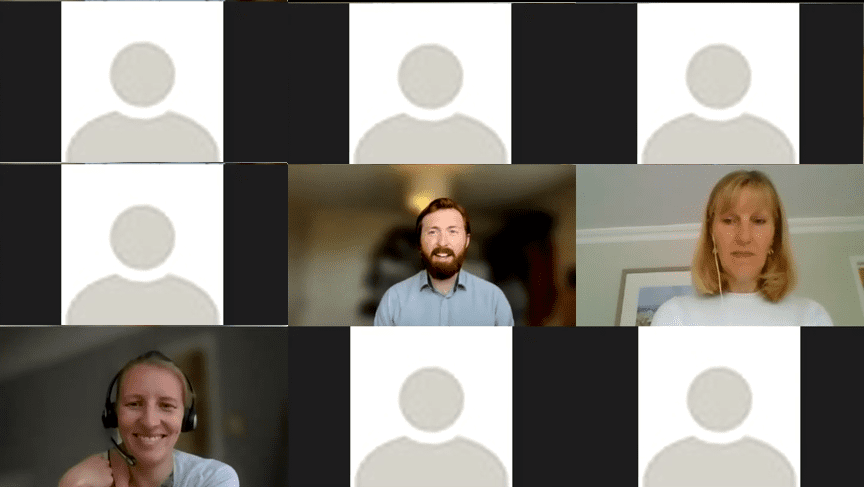 A screenshot of a video call. There are 9 different windows, three have members of the York Volunteers team, the other attendees cameras have been obscurred with a default stylised image of a person that appears when know profile image is set.